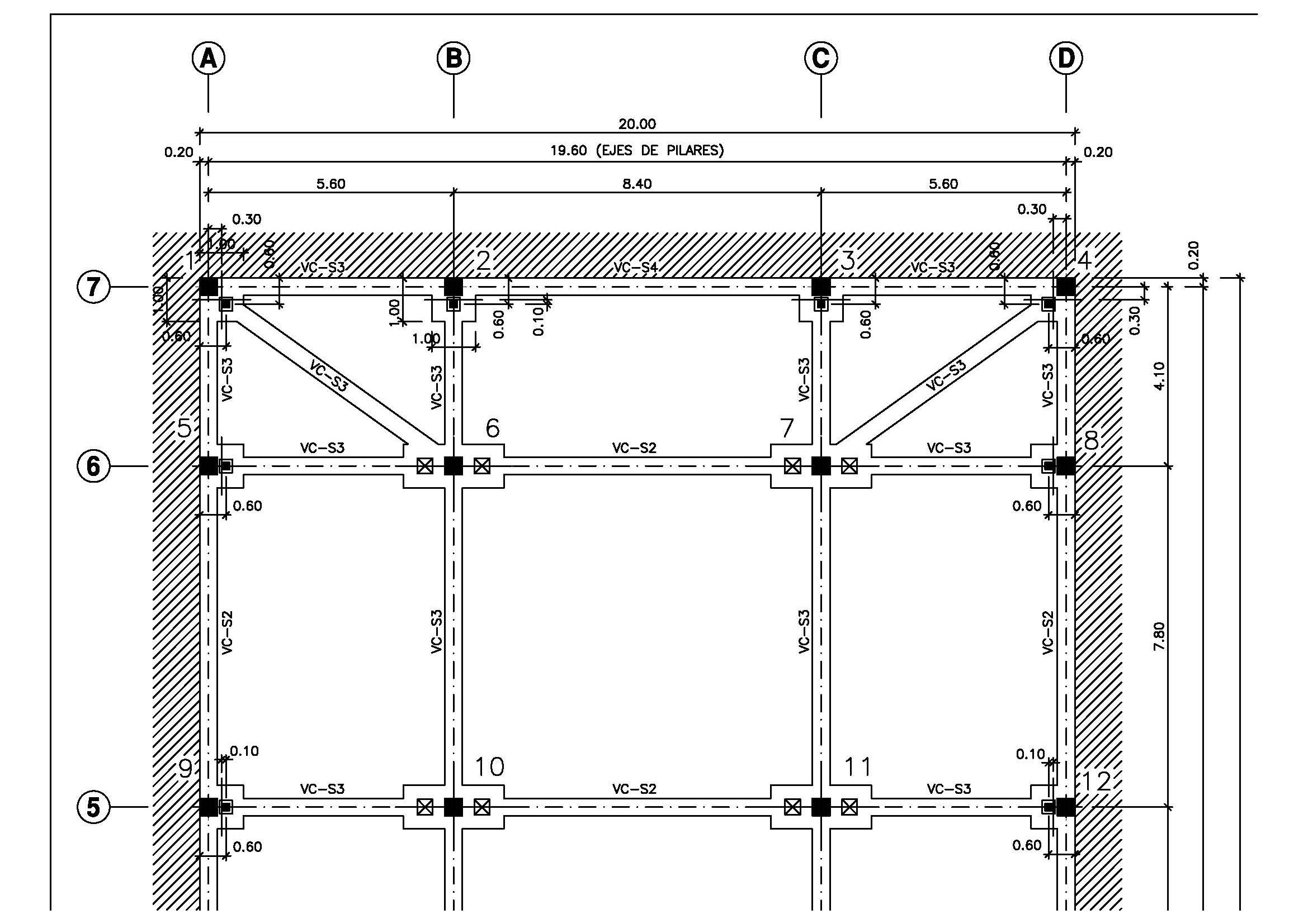 plano cimentacion por pilotes prefabricados y encepados in situ